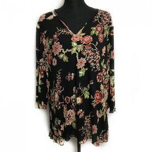 BIYAYCDA 3/4 Sleeve V-Neck Blouse Floral 3X Plus